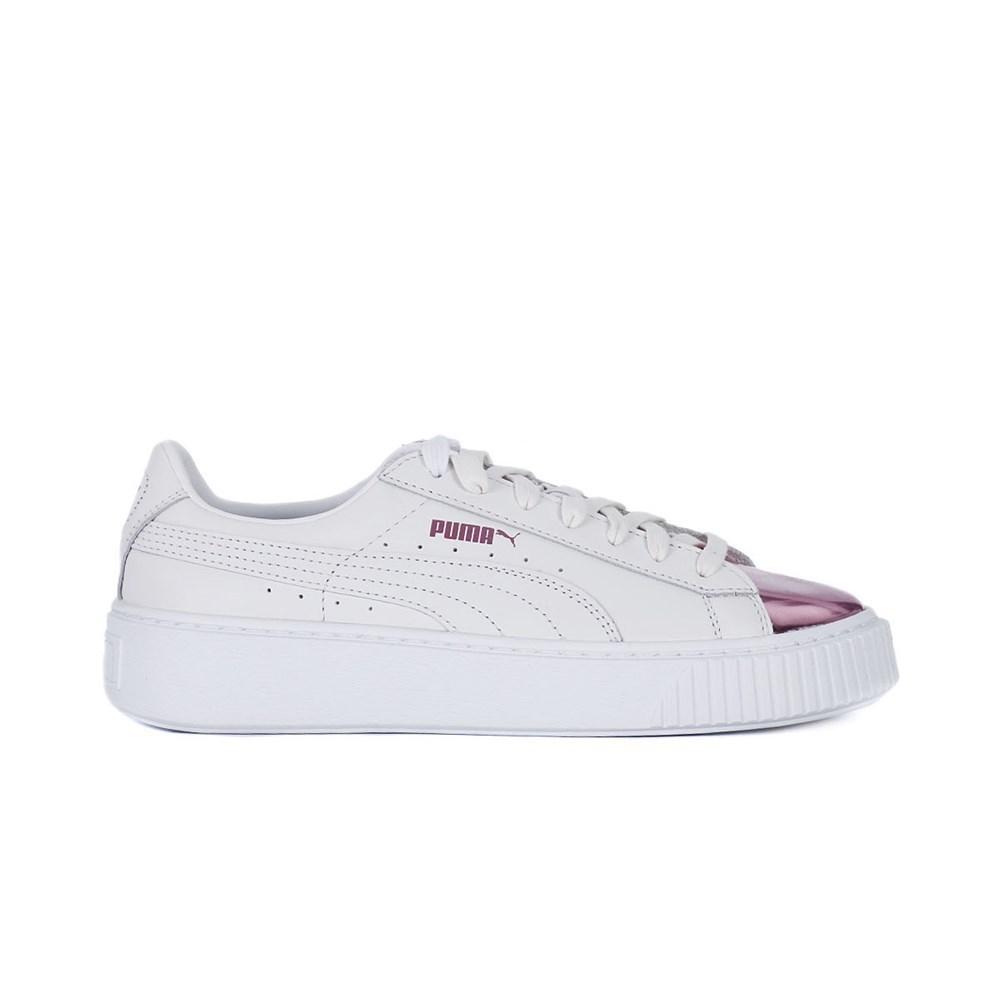 Puma Basket Platform Metallic 36616904 bianco scarpe basse