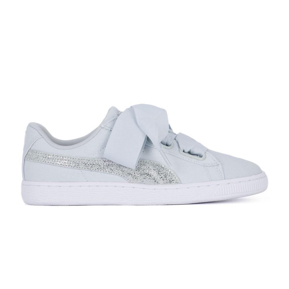 Puma Basket Heart Glitter 366495 bianco scarpe basse